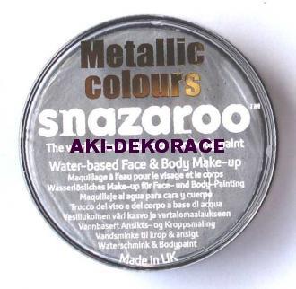 Barva na obličej SNAZAROO metalická stříbrná 18ml