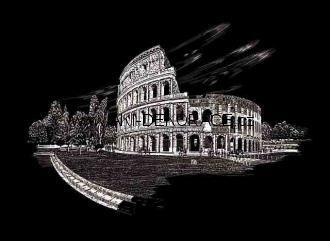 Řím,věž,Škrabací,obrázek,STŘÍBRNÝ,
