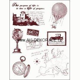 Gelová,razítka,Cestování,mapa,balon,globus,14x18,cm,