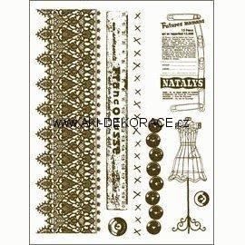 Gelová,razítka,Krajka, metr, knoflíky,15x20,cm