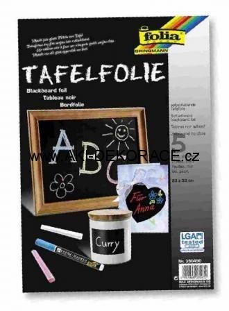 Folie,černá,tabule,5 listů,23x33cm,samolepící,