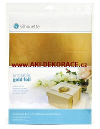 Zlatá,potisknutelná,samolepící,fólie,8 listů,